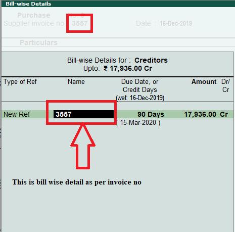 Bill wise details in voucher entry