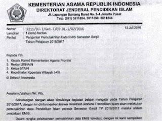 Surat Pengantar Pendataan EMIS