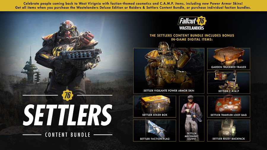 fallout 76 wastelanders free update settler content bundle release date april 7 steam launch pc online action role-playing game bethesda softworks garden truckbed trailer settler c.a.m.p. settler stash box settler faction flag settler mechanic outfit settler traveler loot bag settler relief backpack settler vigilante power armor skin