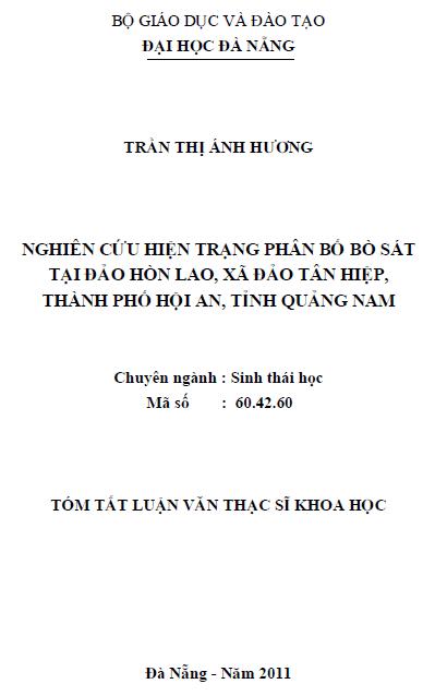 Nghiên cứu hiện trạng phân bố bò sát tại đảo Hòn Lao xã đảo Tân Hiệp thành phố Hội An tỉnh Quảng Nam