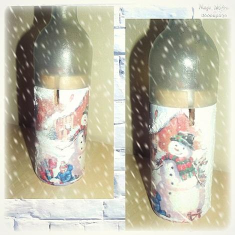 83. Butelka - świecznik decoupage