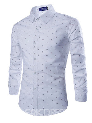 Lapel Plain Polka Dots Single-Breasted Men's Dress Shirt
