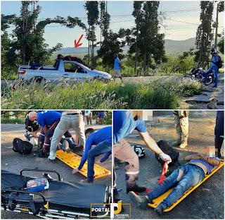 Em Bonfim moto colidiu fundo Pick Up e piloto cai no teto de veículo na BR 407
