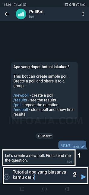Cara membuat polling dari aplikasi telegram