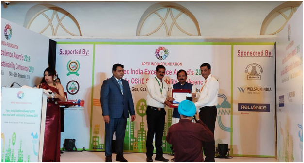 Adani Enterprises Limited (AEL) Chhattisgarh won the 'Platinum Award' in the category of Apex India Occupational Health & Safety Award 2019.