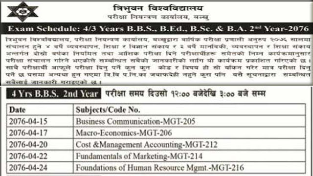 Exam routine of BBS 4 Years BBS 2nd year 2076