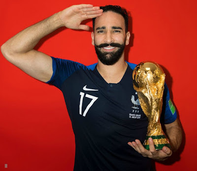Adil Rami with World Cup Trophy in his National Team Jersey