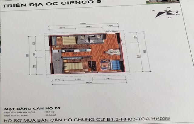 Sơ đồ thiết kế căn hộ 26 chung cư B1.3 HH03B Thanh Hà Cienco 5