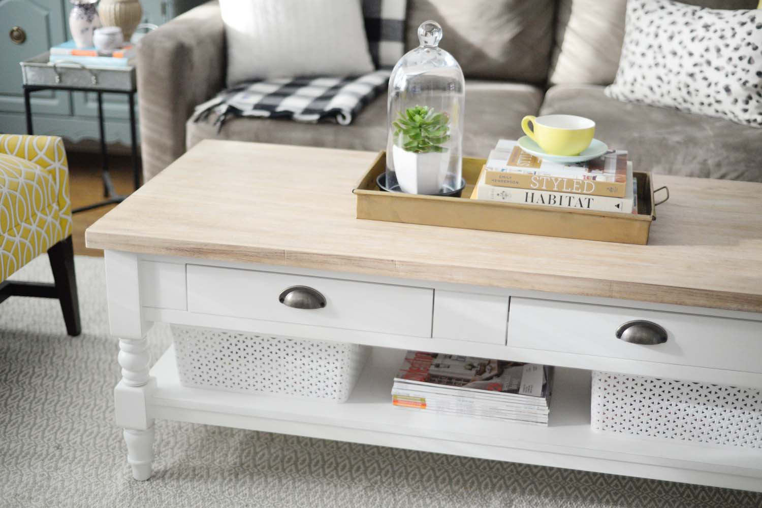 Wayfair Winter Refresh | natural wood and painted white coffee table | RamblingRenovators.ca