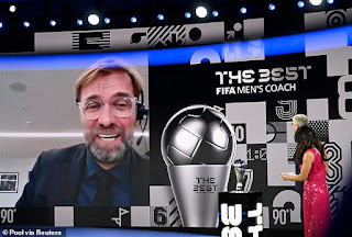Liverpool manager Jurgen Klopp wins men's coach of the year gong at FIFA's Best Awards for second year in a row