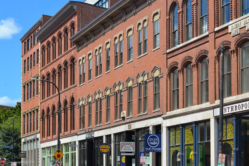Portland, Maine USA July 2019 photo by Corey Templeton. The block of brick buildings on Middle Street between Pearl and Market.