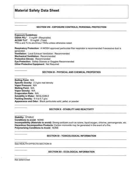 Material Safety Data Sheet (MSDS) Karbon Aktif Calgon FiltraSorb 200