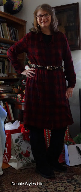 red and black plaid high low dress