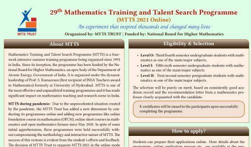 Mathematics Training and Talent Search Programme 2021