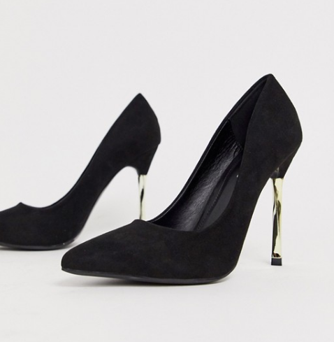 black heeled pumps