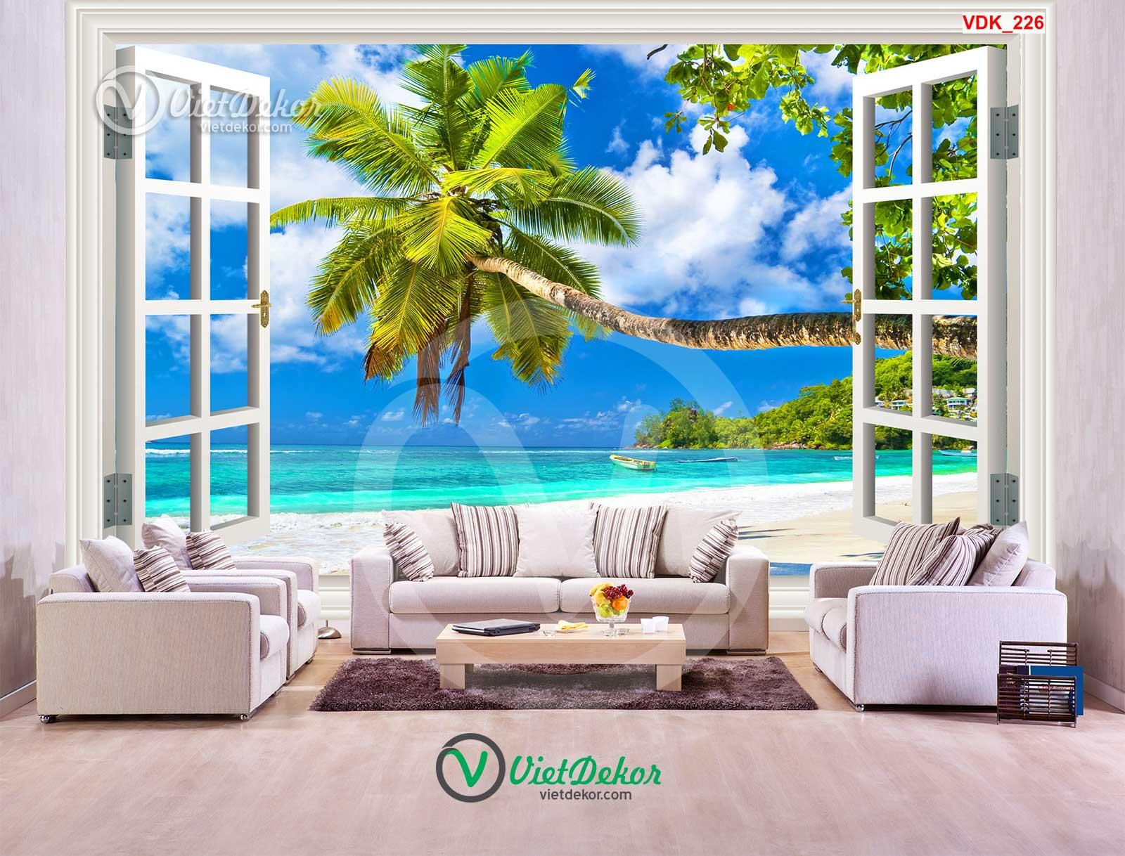 Tranh dán tường 3d cửa sổ cây dừa và biển