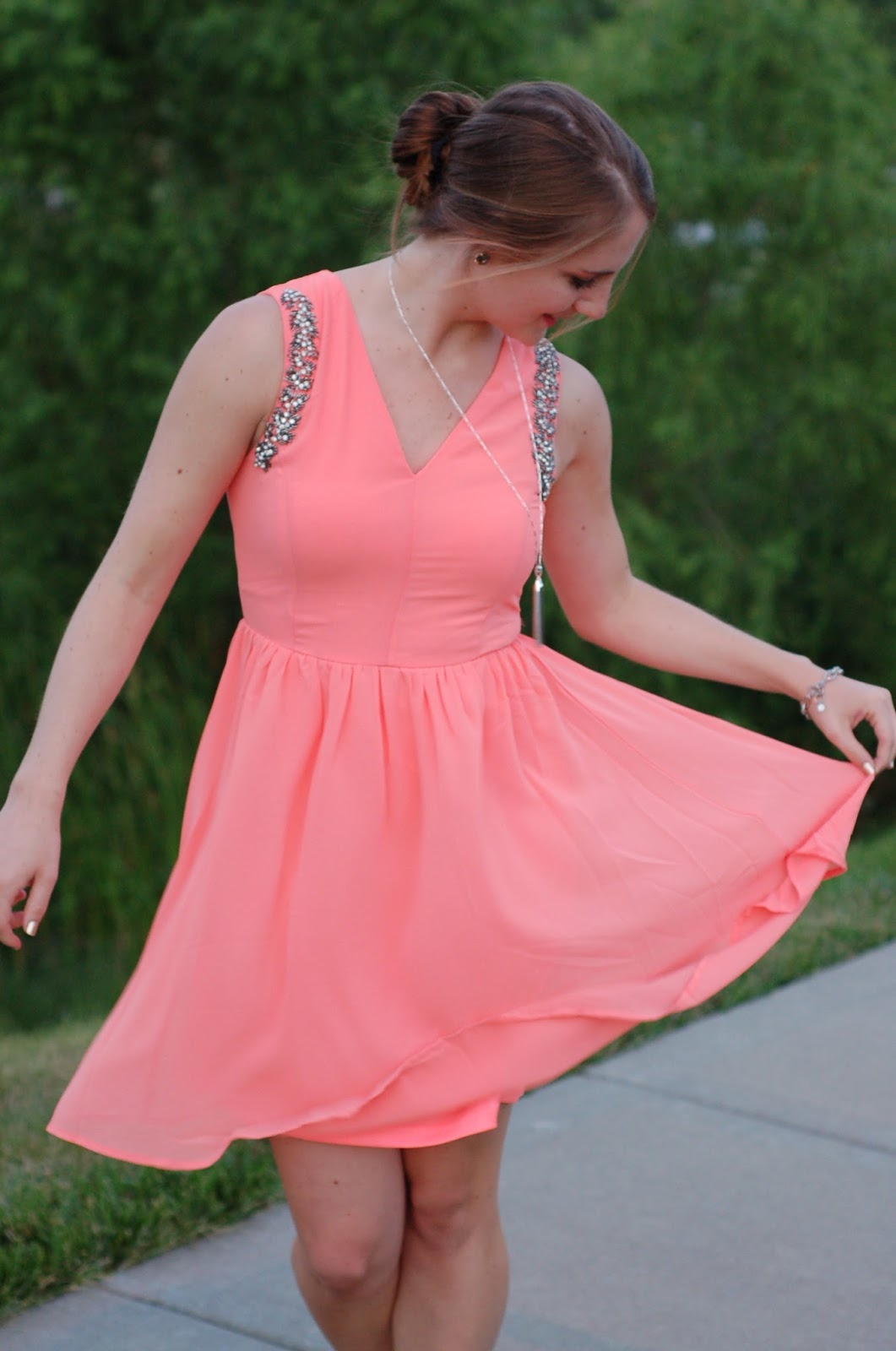 coral dress for a wedding or dance