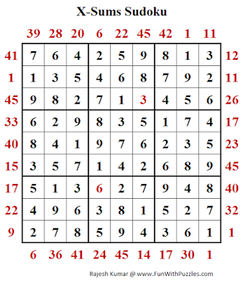 X-Sums Sudoku (Fun With Sudoku #252) Puzzle Answer