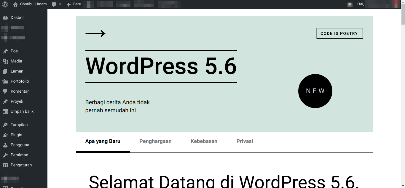 Tampilan tentang WordPress 5.6 pasca memperbaiki masalah another update in process