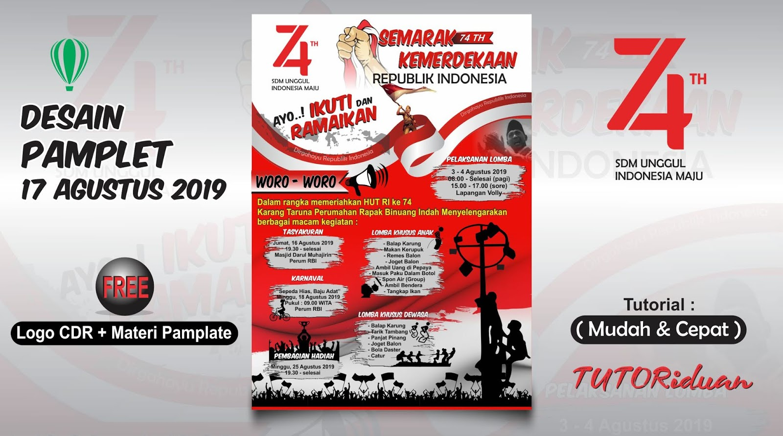 Desain Pamflet Poster 17 Agustus Dengan Coreldraw Tutoriduan Com