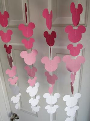 Ghirlande decorative cu capete Minnie Mouse degrade roz
