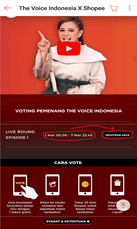 Periode Voting The Voice Indonesia di Shopee.