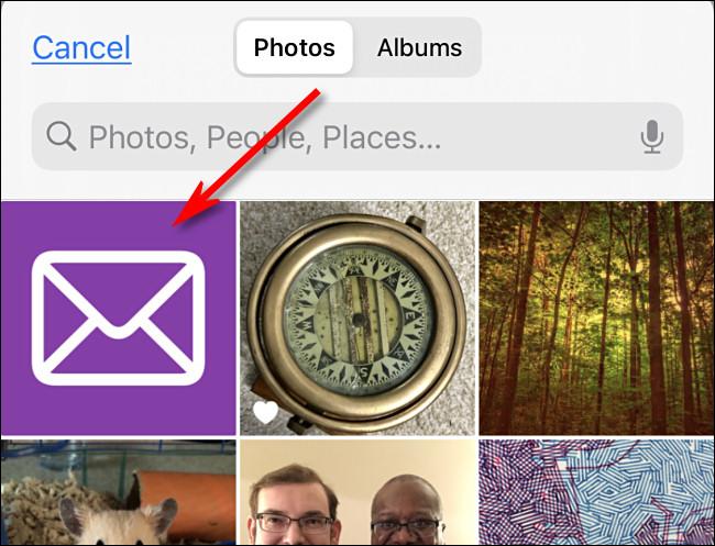 اضغط على الصورة التي ترغب في استخدامها كرمز مخصص لك في صور iPhone.