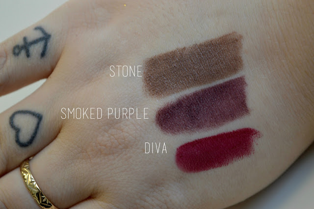 MAC lipstick Stone, Smoked Purple, Diva