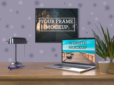 3D frame and laptop mockup psd