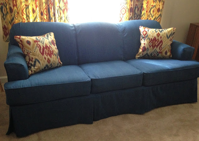 Denim Slipcover On A Sleeper Sofa