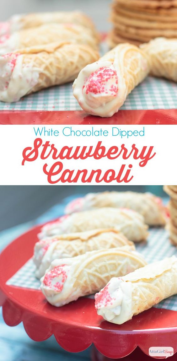 White Chocolate Dipped Cannoli with Strawberry Cream