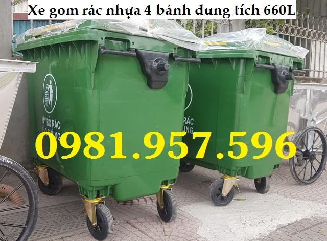 Thùng gom rác công nghiệp 660L, thùng rác nhựa dung tích 660L