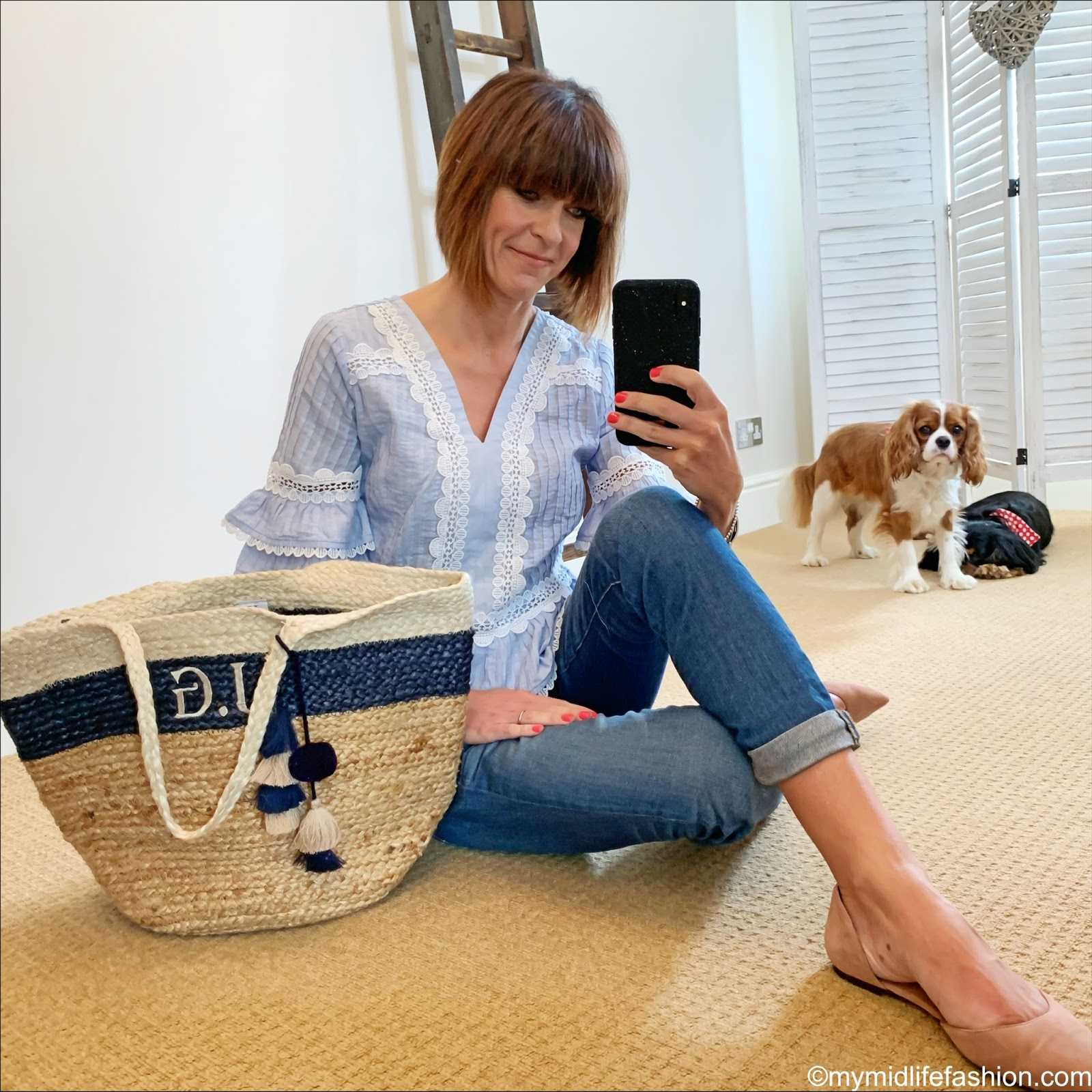 my midlife fashion, j crew lace trimmed short sleeve blouse, j crew boyfriend jeans, initially London jute basket, h and m pointed ballet pumps