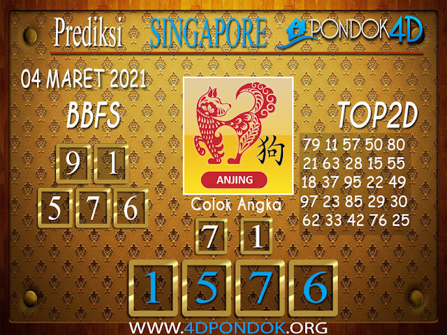 Prediksi Togel SINGAPORE PONDOK4D 04 MARET 2021