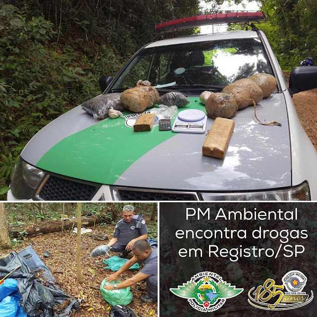 POLICIA AMBIENTAL LOCALIZA DROGAS EM ACAMPAMENTO UTILIZADO POR CAÇADORES EM REGISTRO-SP