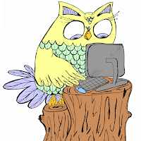 cute yellow owl standing on a log working on computer