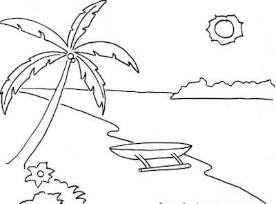 contoh gambar pemandangan pantai