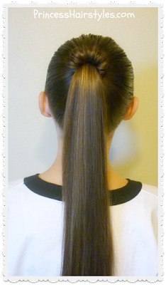 Quick hairstyle for school. Spindle top ponytail tutorial.