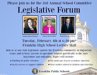 School Committee's Legislative Forum - Feb 4 - 6:30 PM