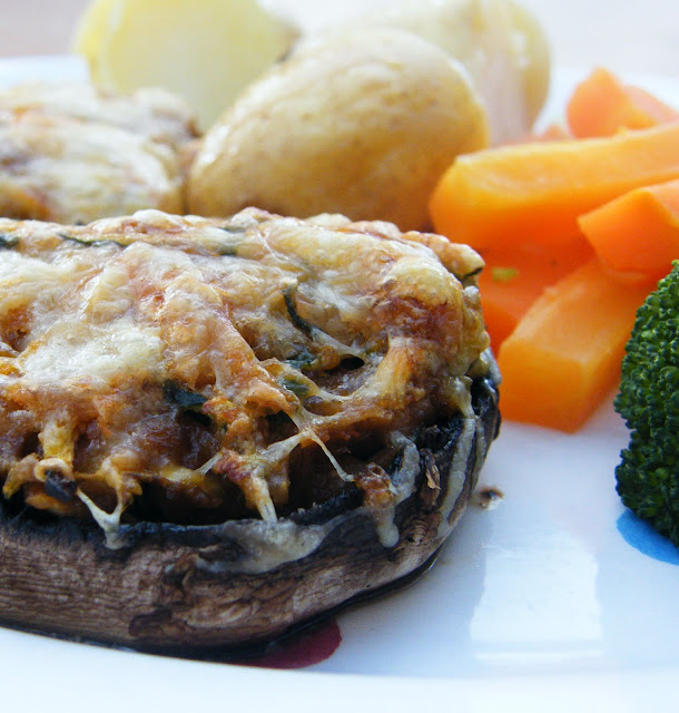 Deluxe Carrot, Courgette & Peanut Butter Stuffed Mushrooms
