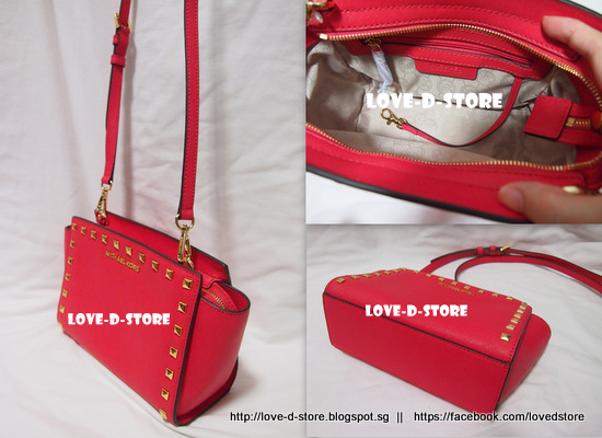 5a0072a403d8 Saffiano leather with stud details. Measures approx 9