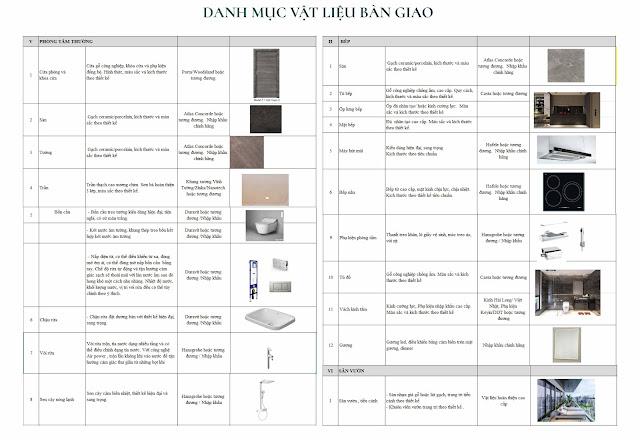 Vật liệu bàn giao căn hộ dự án chung cư Sunshine Green Iconic Nguyễn Lam Phúc Đồng Long Biên