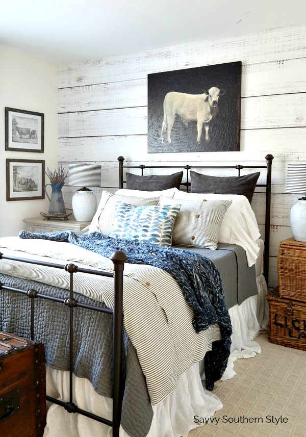 Farmhouse Style Bed And Bedding. Farmhouse Style Bedroom
