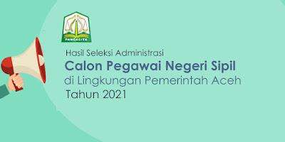 Hasil Seleksi Administrasi CPNS Provinsi Aceh Tahun 2021