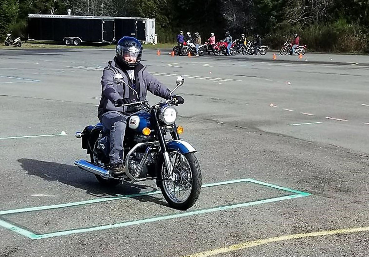 Royal Enfield motorcycle at rider training program.