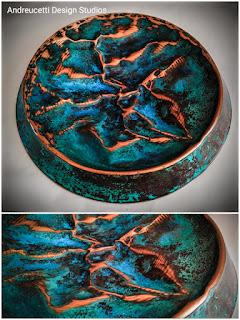Irish metalwork artist, copper artist, copper design, patina