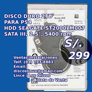 Disco Duro 2TB Nuevo para PS4 venta en Lince y Los Olivos, instalaciones y envios por Olva Courier y Glovo previo deposito BCP o ScotiaBank