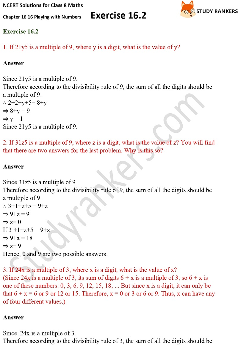 NCERT Solutions for Class 8 Maths Ch 16 Playing with Numbers Geometry Exercise 16.2 1