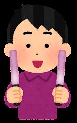 赤紫のペンライトを持つ人のイラスト(男性)
