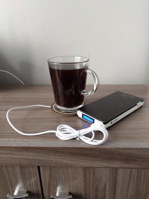 cafe quente suporte aquecedor xicara vidro powerbank usb 2a